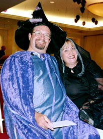 Tracy Hickman dressed Fizban and Laura Curtis dressed as his lovely assistant.