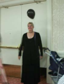 Margaret Weis, acting the part of Her Dark Majesty for the evening.